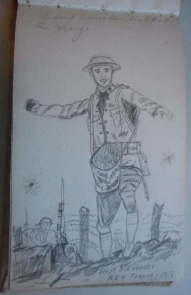 Ecrits & Dessins du Sergent Bernard EVANDER , 32nd Engineers , Company C 1e25