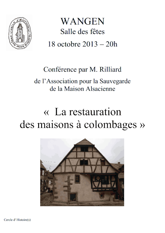 Conférence de M.Rilliard sur la restauration des maisons à colombages le 18 octobre 2013 à 20 h salle des fêtes de Wangen Confar11
