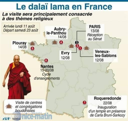 Visite de Sa Sainteté le Dalai Lama en france Afp-ph10