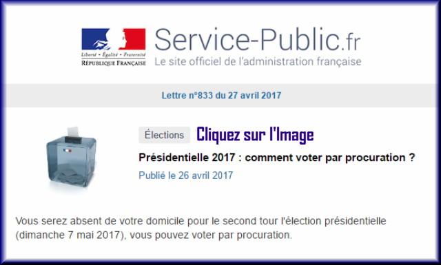 """La lettre N° 833 de """"Service Public"""" pour le 27 Avril 2017 83310"""