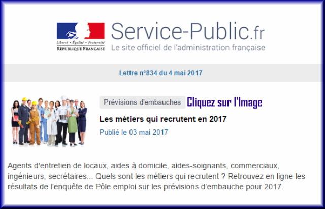 """La lettre N° 834 de """"Service Public"""" pour le 04 Mai 2017 83410"""