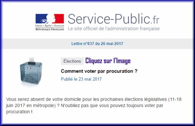 """La lettre N° 837 de """"Service Public"""" pour le 26 Mai 2017 83710"""