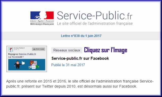 """La lettre N° 838 de """"Service Public"""" au 01 Juin 2017 83810"""
