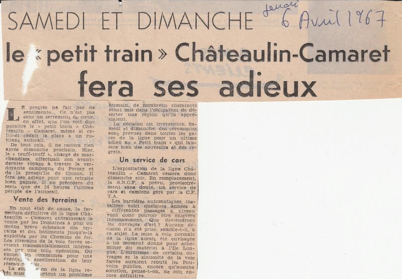 Réseau Breton - il y a 50 ans la fin de la ligne Camaret - Chateaulin Emb Rb_fin10
