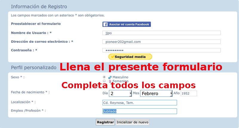 Instrucciones para el Registro en el FORO. Sin_no20