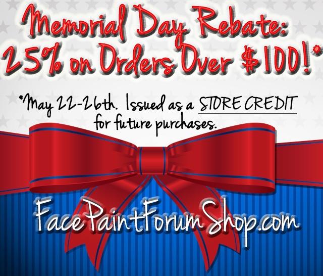 Memorial Day Promo:  25% Rebate Back! Memori10