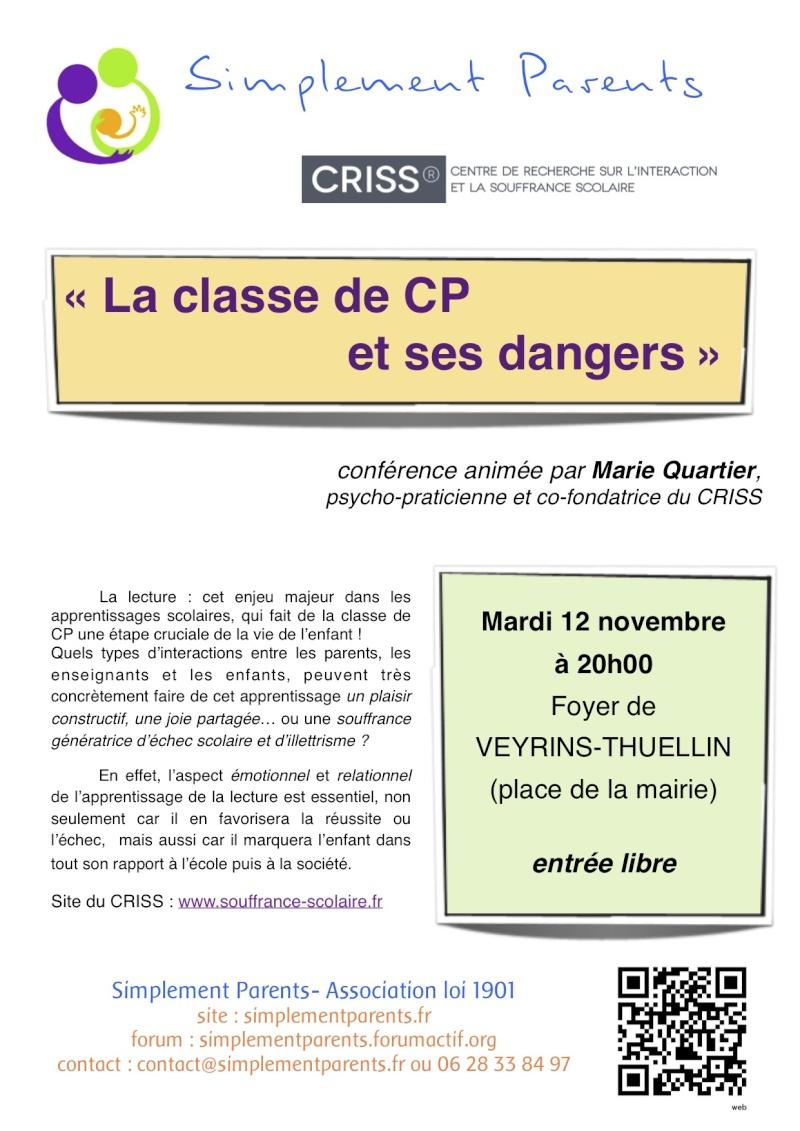 """conférence du CRISS : """"la classe de CP et ses dangers"""" Confer10"""