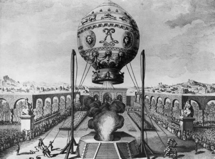 La conquête de l'espace au XVIIIe siècle, les premiers ballons et montgolfières !  Montgo11