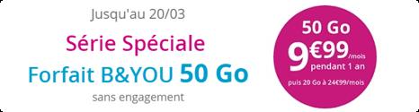 Forfait B&YOU 50 Go à 9,99€/mois pendant 1 an 14896910