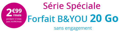 Le forfait B&YOU 20 Go à 2,99€/mois joue les prolongations chez Bouygues Telecom 14903410