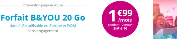 Bouygues Telecom prolonge son offre B&YOU 20Go à 1,99€/mois jusqu'au 20 juin 14975910
