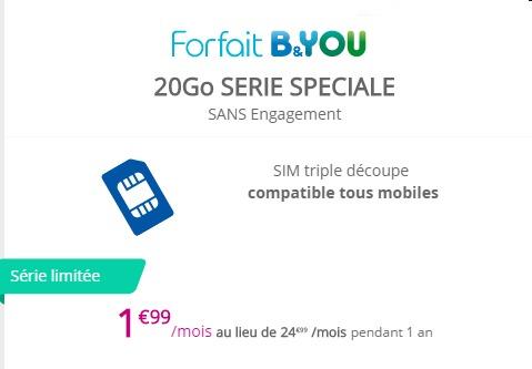Le forfait B&YOU 20Go à 1,99€/mois pendant 1 an Bandyo12
