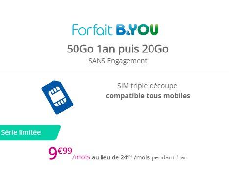 Forfait B&YOU 50 Go à 9,99€/mois pendant 1 an Byou5011