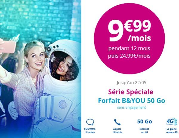 Offre spéciale le forfait B&YOU 50Go à 9.99€ pendant 12 mois  Byou5012
