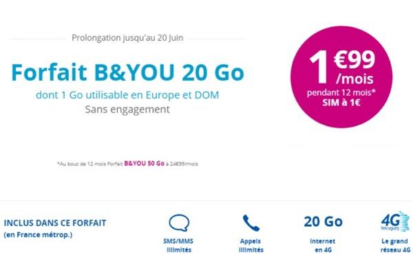 Bouygues Telecom prolonge son offre B&YOU 20Go à 1,99€/mois jusqu'au 20 juin Prolon10