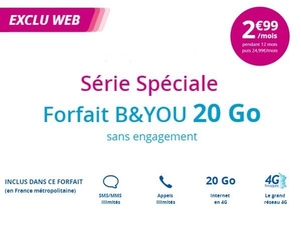 Le forfait B&YOU 20 Go à 2,99€/mois joue les prolongations chez Bouygues Telecom Promob13