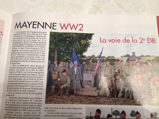 Militaria Mag, Novembre 2013. Inauguration Borne 2ème DB Cossé-en-Champagne, Image12