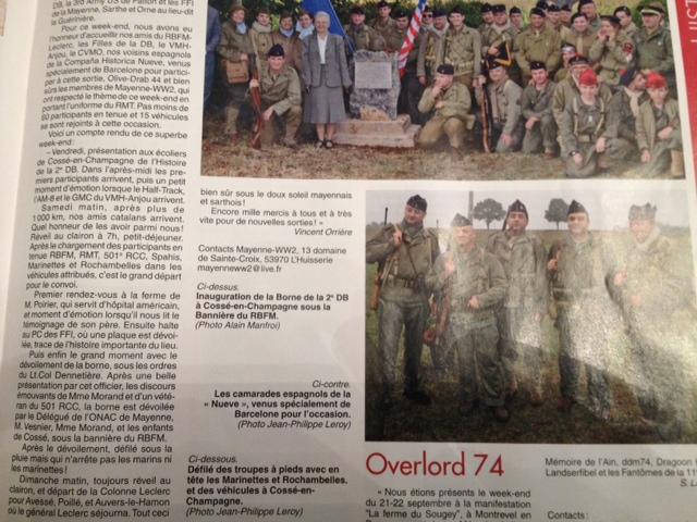 Militaria Mag, Novembre 2013. Inauguration Borne 2ème DB Cossé-en-Champagne, Photo10