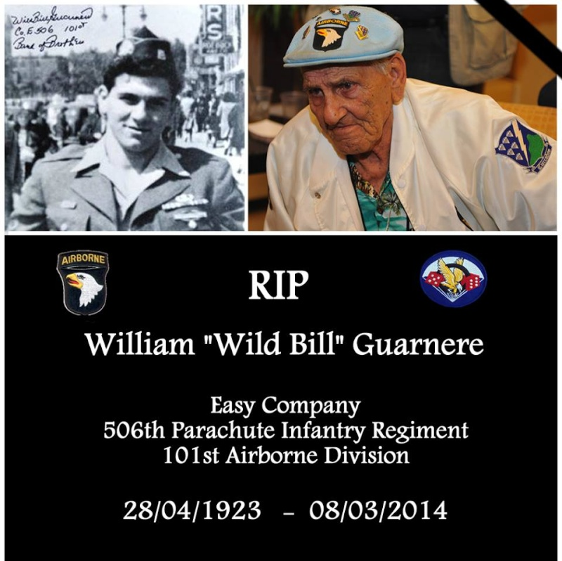 "Decés de William ""wild bill"" Guarnere Easy Company 101ème AIRBORNE 19204110"