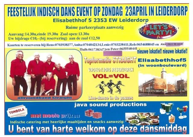 Feestelijk Indisch Dans Event op Zondag  23 april in Leiderdorp Rens10