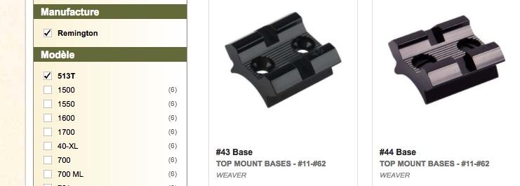 Montage lunette sur une Remington 513 T Embase10