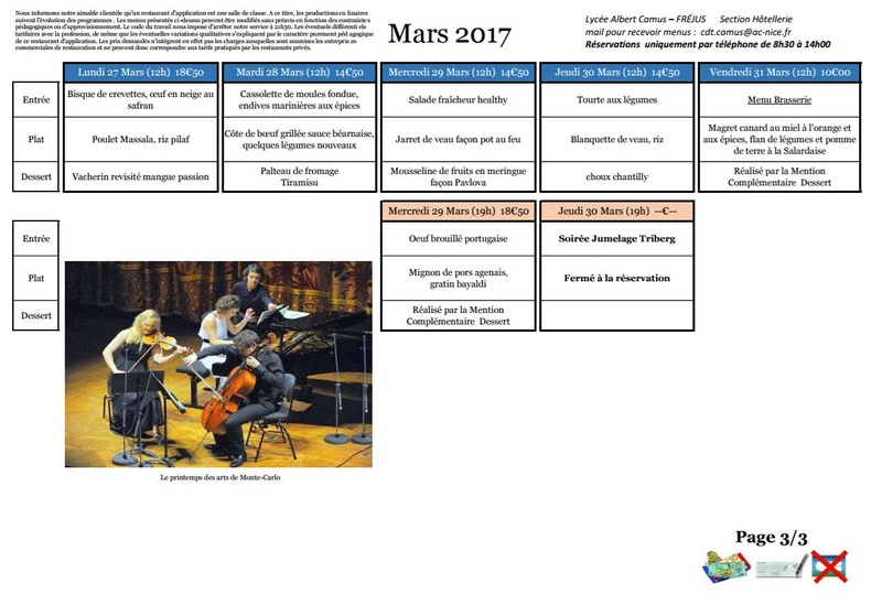 Menus de Camus Mars 2017 20170313