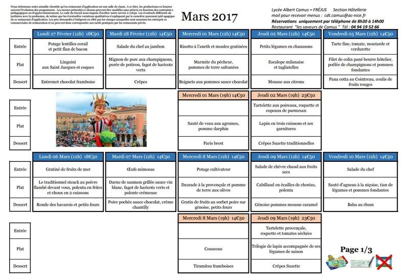 Menus de Camus Mars 2017 20170314