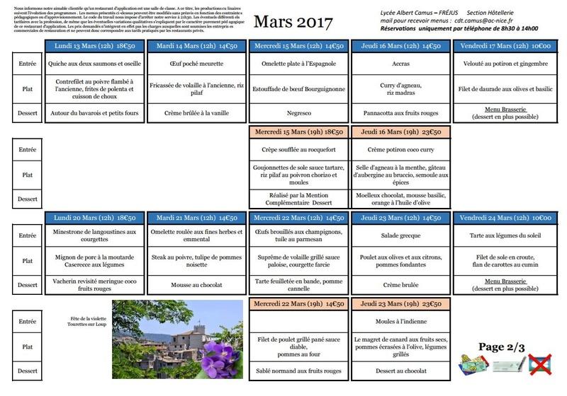 Menus de Camus Mars 2017 20170315