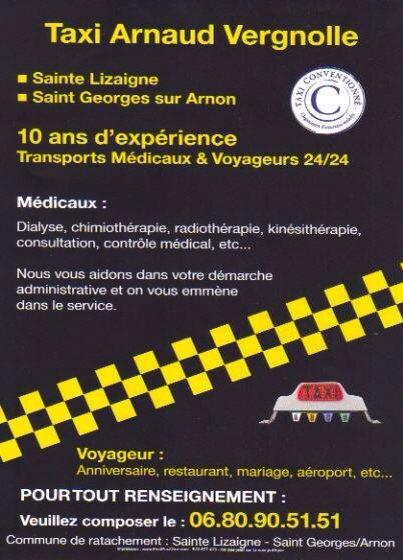SAINTE LIZAIGNE - 36100 ISSOUDUN - TAXI  Arnaud VERGNOLLE Z2810