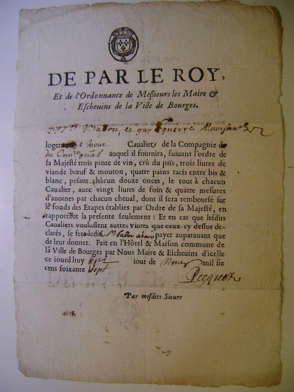 Billet de logement de cavaliers du régiment Commissaire Général en 1667. Dsc09129