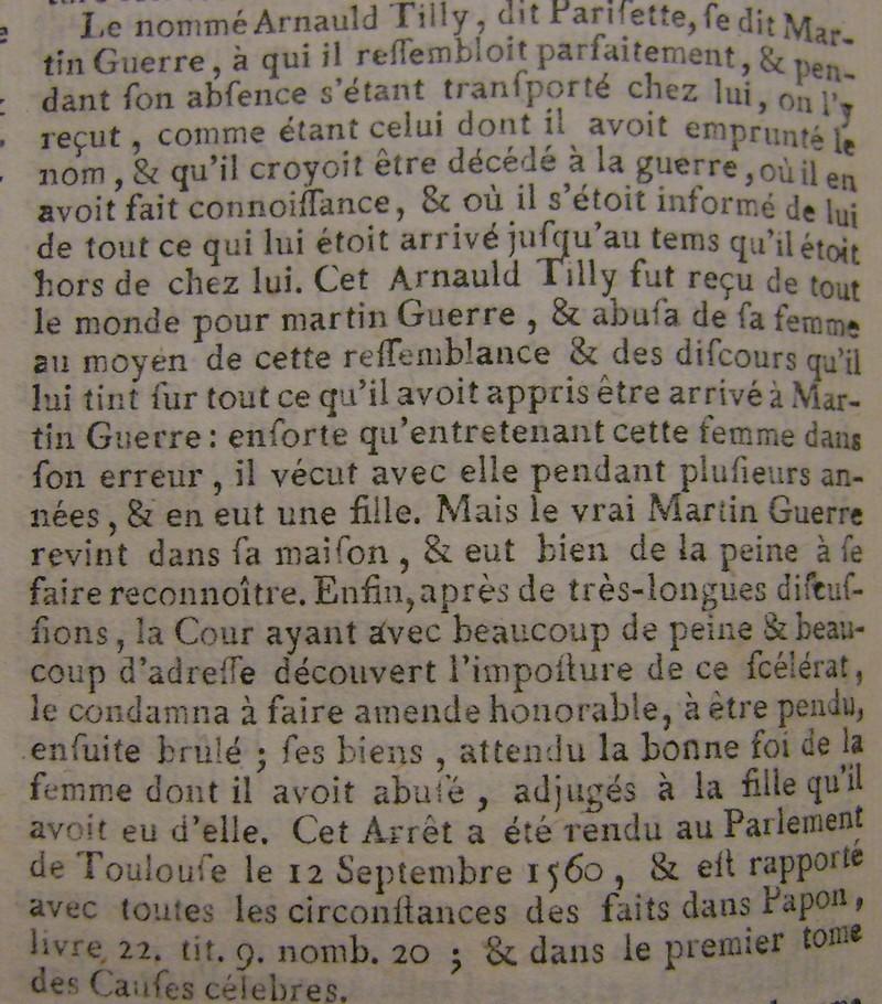 L'affaire de Martin Guerre vue au XVIII° siècle. Martin10