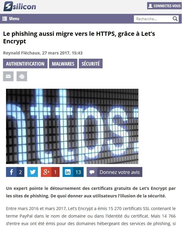 Le phishing aussi migre vers le HTTPS, grâce à Let's Encrypt 2017-015
