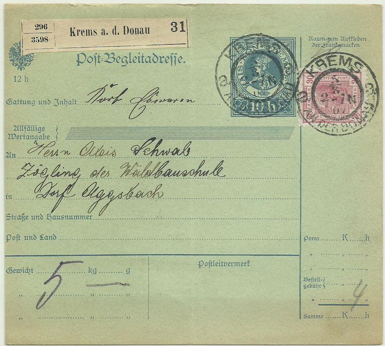 Postbegleitadressen mit fiskalischem Werteindruck Beglei10