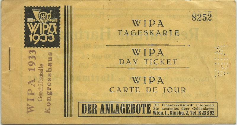 WIPA 33 Eintrittskarte mit Webung für Heurigen in Grinzing Grinzi10