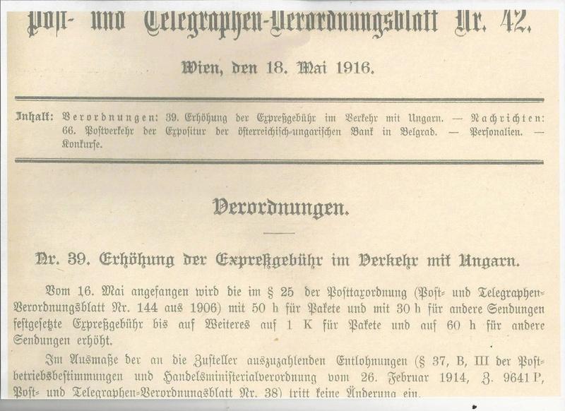 Die Auslandsexpreßgebühr ab 1.9.1918 Kaiser10
