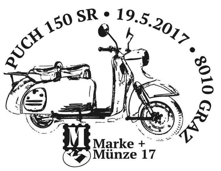 """Sondermarke """"PUCH 150 SR"""" Serie """"Motorräder"""" Stempe13"""