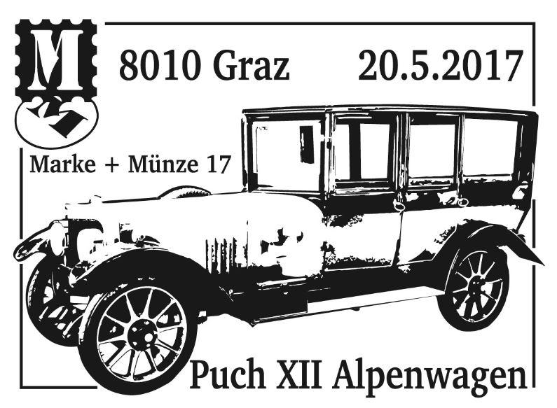 """Sondermarke """"Puch XII Alpenwagen"""" Serie """"Autos"""" Stempe14"""