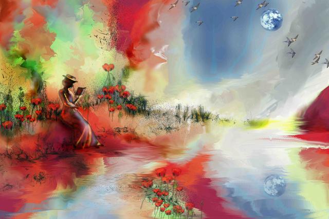 La lectrice , photo et peinture numérique  1-la_l10