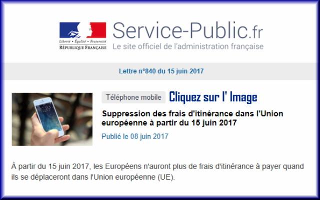 """La lettre N° 840 de """"Service Public"""" pour le 15 Juin 2017 84010"""