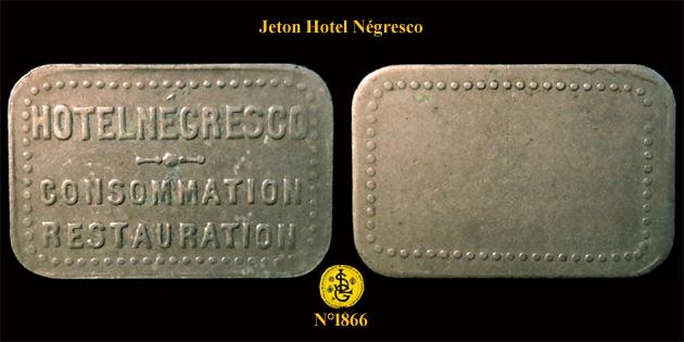 Jeton à consommer Hôtel Négresco ... 1866_h10