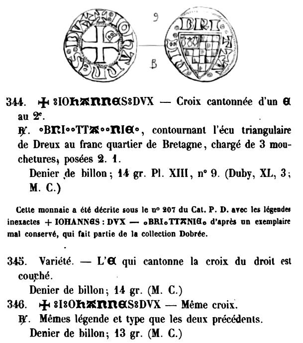 Denier de Bretagne pour Jean III le Bon (1312-1341) ... Bigot_14