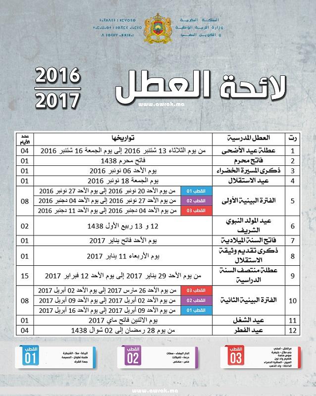 لائحة موعد و تاريخ العطل المدرسية 2017 بالمغرب O-oo-o10