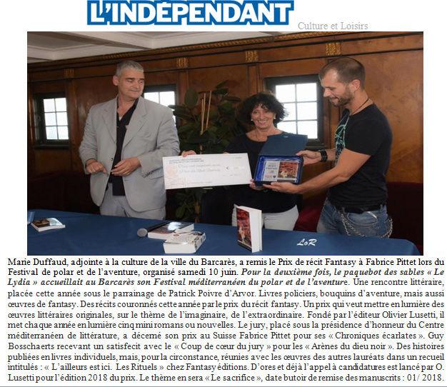 Le Prix du récit fantasy du Festival méditerranéen du polar et de l'aventure Articl10
