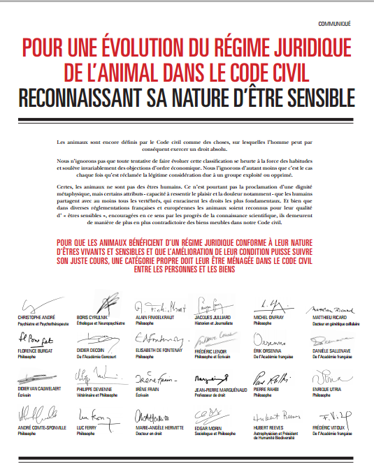 Pétition pour un nouveau statut juridique de l'animal Manife10