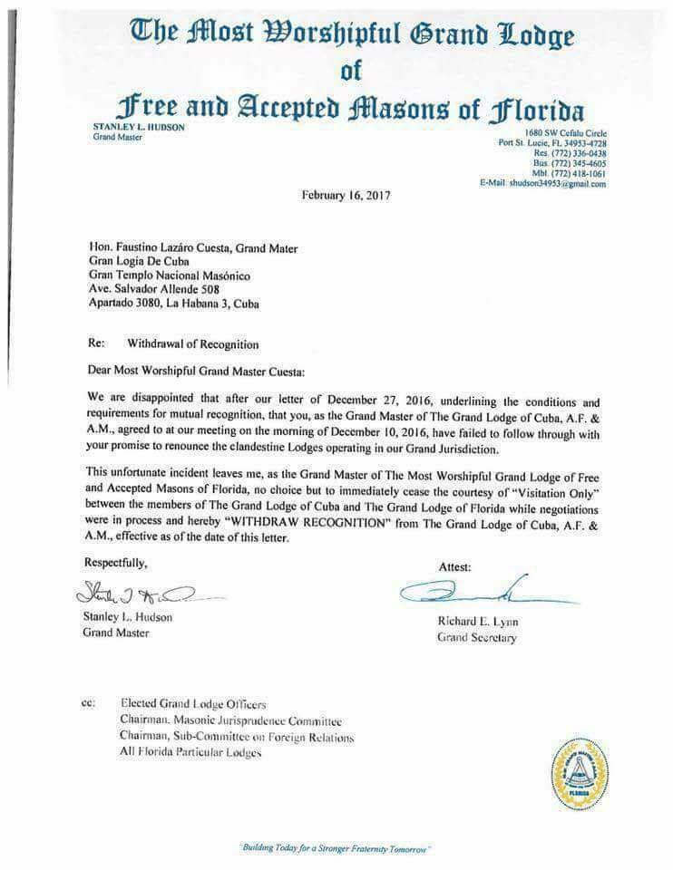 La Gran Logia de la Florida retira el reconocimiento de visita de cortesía a la Gran Logia de Cuba 16806710