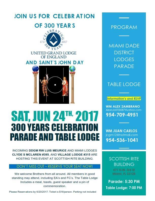 300 years of Freemasonry  ***  Parade and Table Lodge June 24th at the Miami Scottish Rite Masonic Temple 300_an10