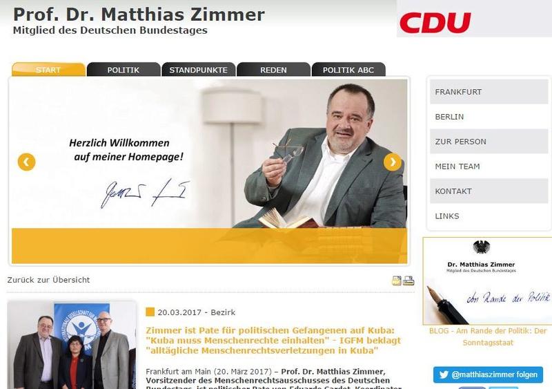 Prof. Dr. Matthias Zimmer, presidente de la Comisión de Derechos Humanos del Parlamento alemán, apadrina al preso de conciencia Eduardo Cardet Zimmer10