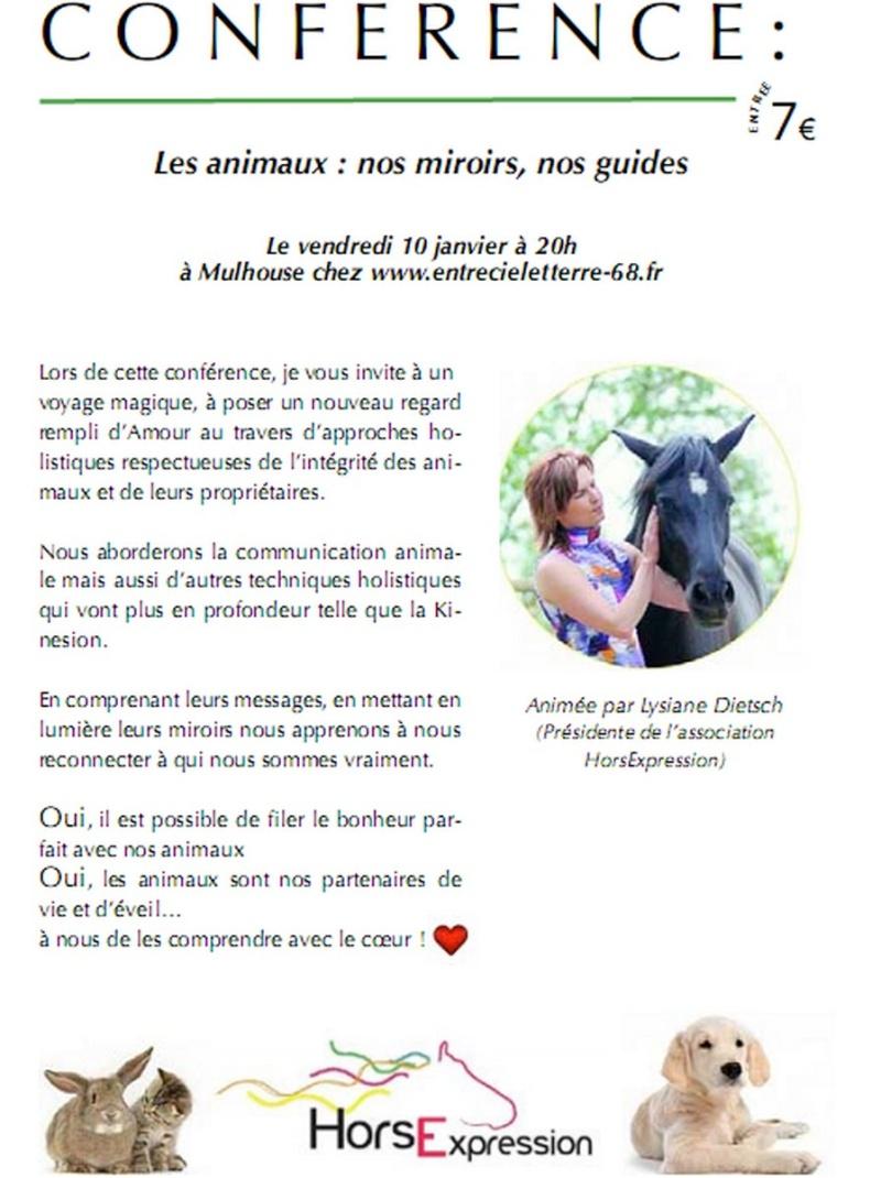 """Alsace : conférences """"Animaux, nos miroirs nos guides"""" Affich11"""
