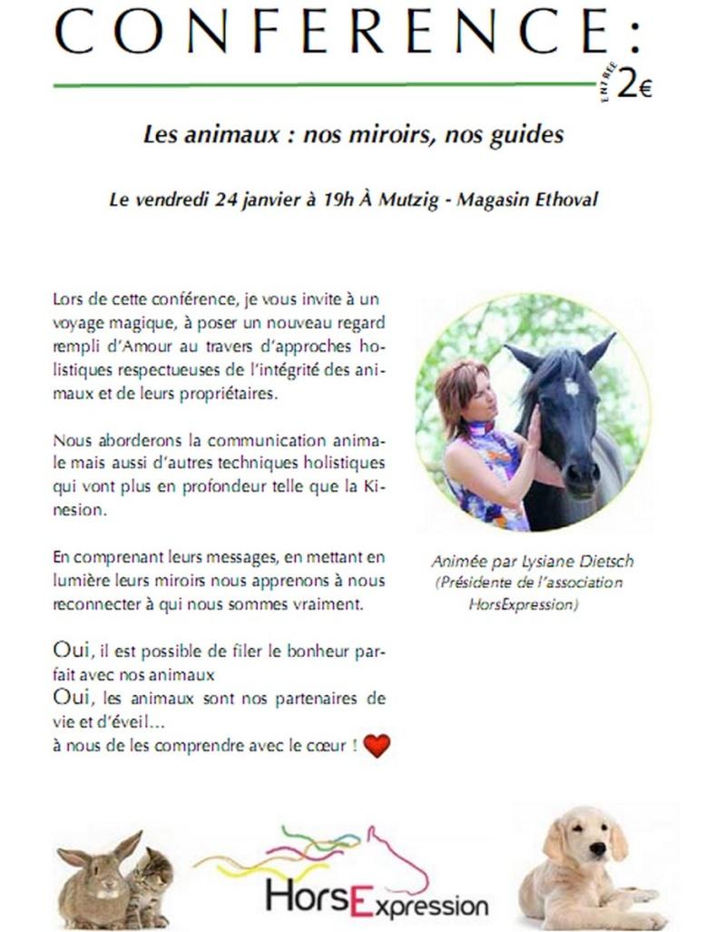 """Alsace : conférences """"Animaux, nos miroirs nos guides"""" Affich12"""