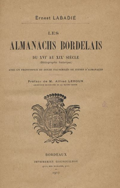 Les Almanachs Bordelais  Girond10
